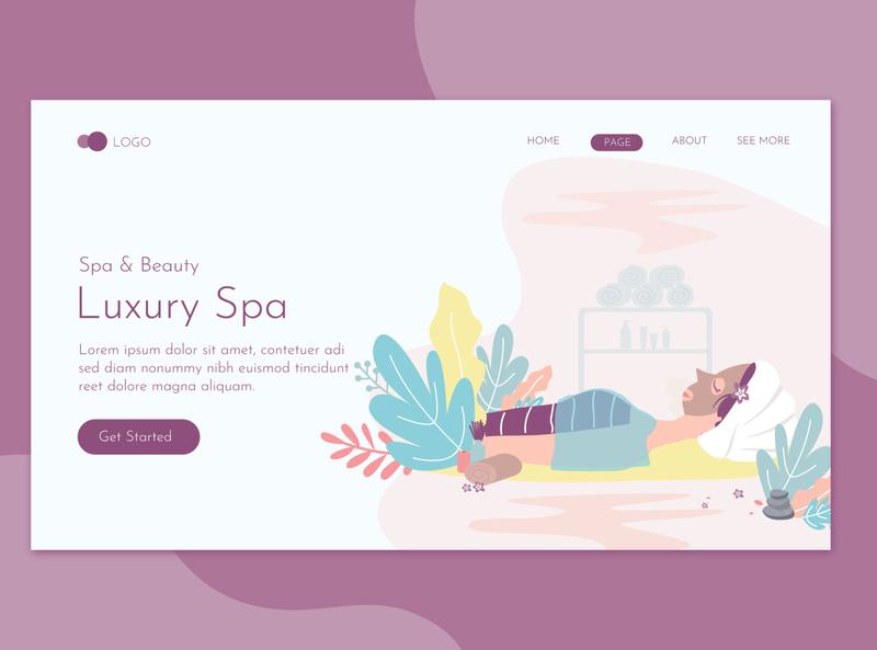Luxury Spa Landing Page Flat Concept landing website illustration promote templates beauty clinic women skin salon print massage health deluxe flyer spa care
