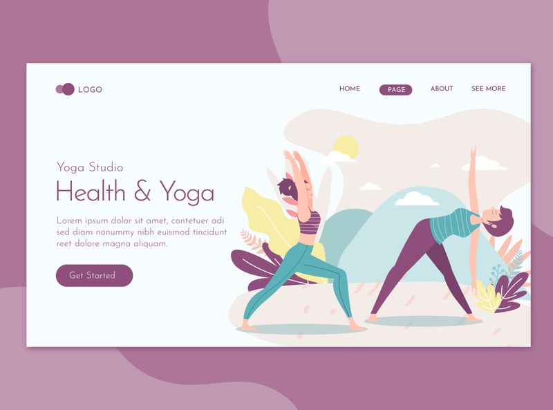 Health Beauty & Yoga Landing Page Flat Concept character landing website illustration training relax woman meditation sport body female lifestyle fitness relaxation people health exercise healthy yoga