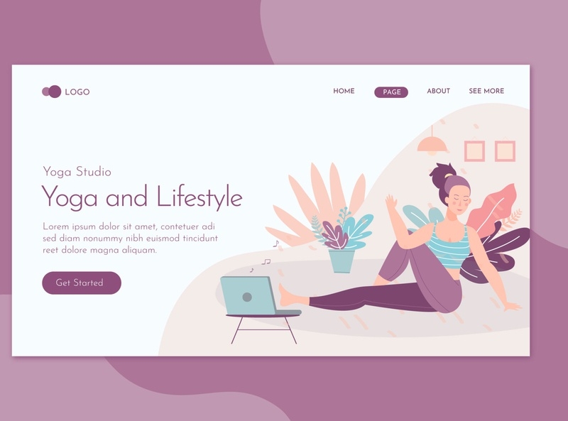 Yoga & Lifestyle Landing Page Flat Concept landing website illustration training relax woman meditation sport body female lifestyle fitness relaxation people health exercise healthy yoga