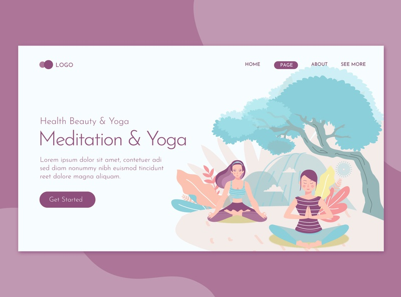 Meditation and Yoga Landing Page Flat Concept Template character landing website illustration training relax woman meditation sport body female lifestyle fitness relaxation people health exercise healthy yoga