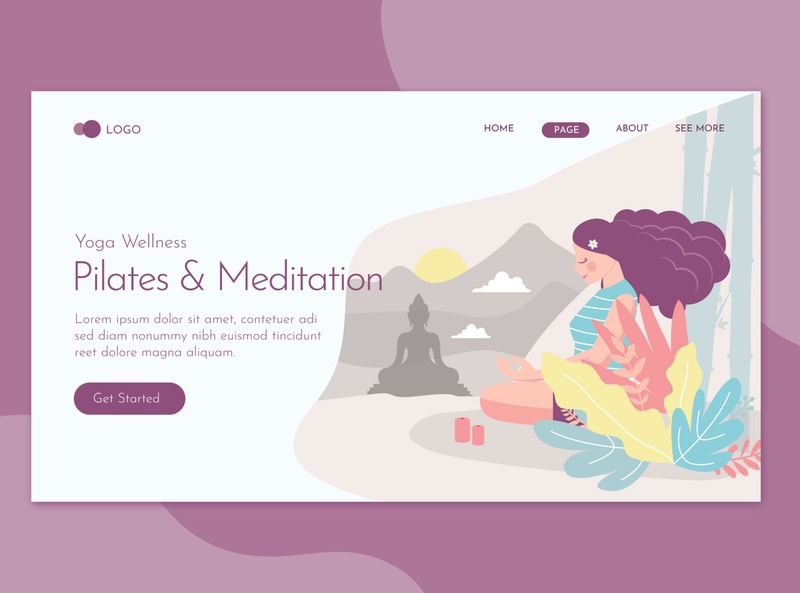 Pilates & Meditation Landing Page Flat Concept Template character landing website illustration training relax woman meditation sport body female lifestyle fitness relaxation people health exercise healthy yoga