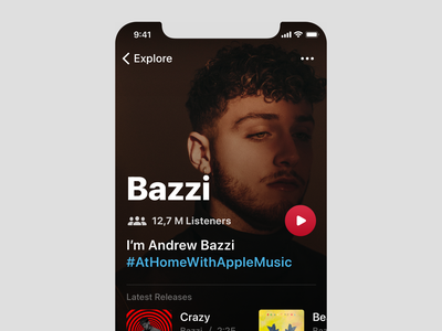 Apple Music Artist Profile Explorations account podcasts podcast human interface hig user profile songs dark mode track cover album playlist player youtube soundcloud deezer spotify music