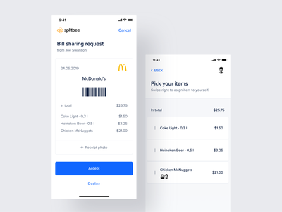 Splitbee – Mobile app ui payment fintech cards swipe split transfer banking ios code scan details request