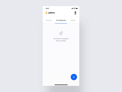 Splitbee – Mobile app animation microinteractions interaction bill pull to refresh refresh pull swipe split cards transfer fintech payment request banking