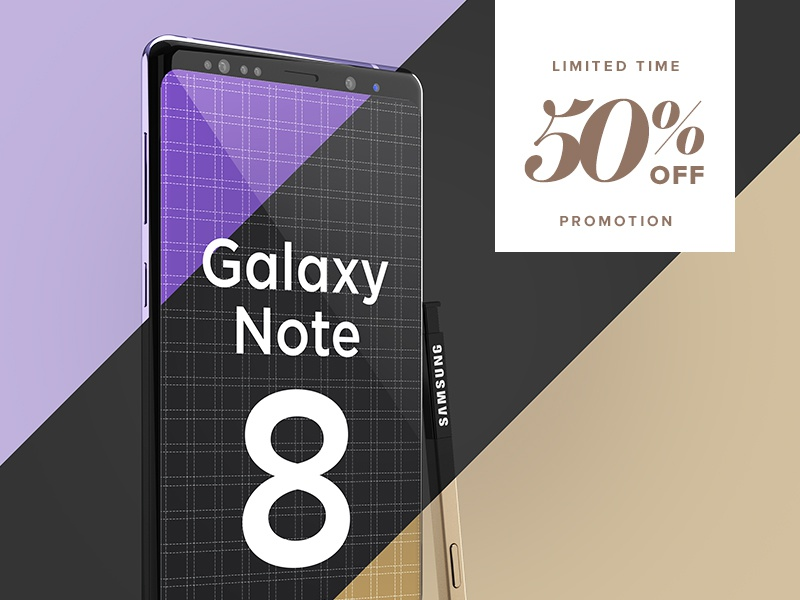 Samsung Galaxy Note 8 Design Mockup high resolution 4k ux ui free presentation app design android note 8 samsung galaxy note 8 smartphone mockup