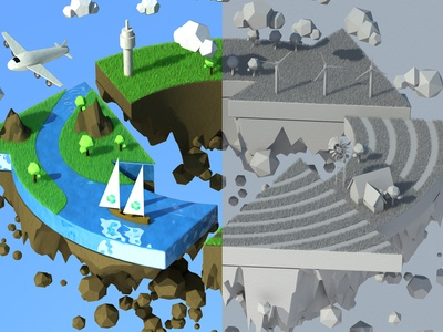 Renewable World planet world campaign wall art recycle cinema 4d illustration 3d
