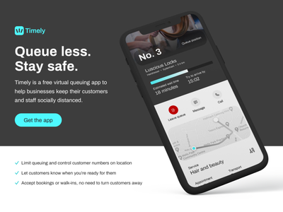 Timely - Queue less. Stay safe. web ui concept app