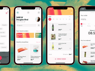 Let's snack that! food delivery app typogaphy icons ux ui branding design concept app design mobile ui