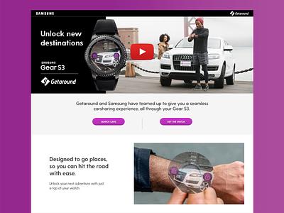Getaround for the Samsung Gear S3 web landing page webpage watch gear s3 getaround partnership samsung