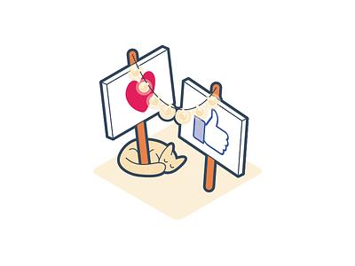Social twitter instagram facebook like heart post kitten cat string lights sign social