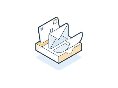 Inbox light yellow box tilt fly curl paper page float letter mail inbox