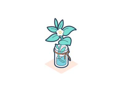 Plant petal green greenery vase glass gift thank you ribbon water jar flower plant