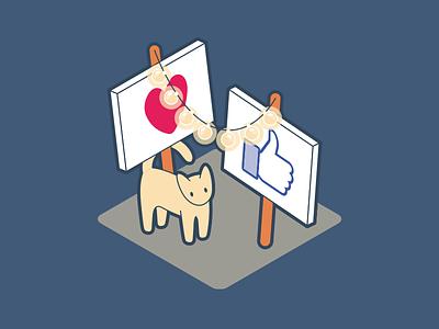 Social Kitty hearts likes thumbs instagram facebook kitty kitten cat social