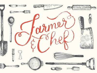 Farmer And Chef logo and branding food farm hand lettering pen and ink