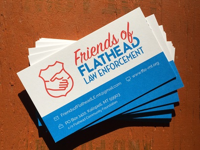 Friends of Flathead Law Enforcement logo and cards badge police line icon law enforcement friends business cards