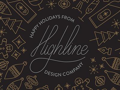 HL's 2016 Christmas card. Line art makes us giddy. gold ornaments christmas highline design company line icons