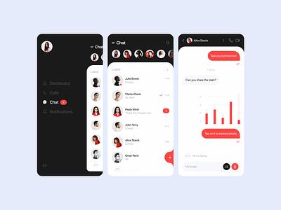 Chat menu design menu ui mobile ui chatting black red chat bot mobile app chat app chat