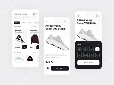 Sneakers Store - App Concept shoes marketplace ui fashion ecommerce iphone mobile sneaker shop design jordan yeezy store sneakers app ios minimalist user interface