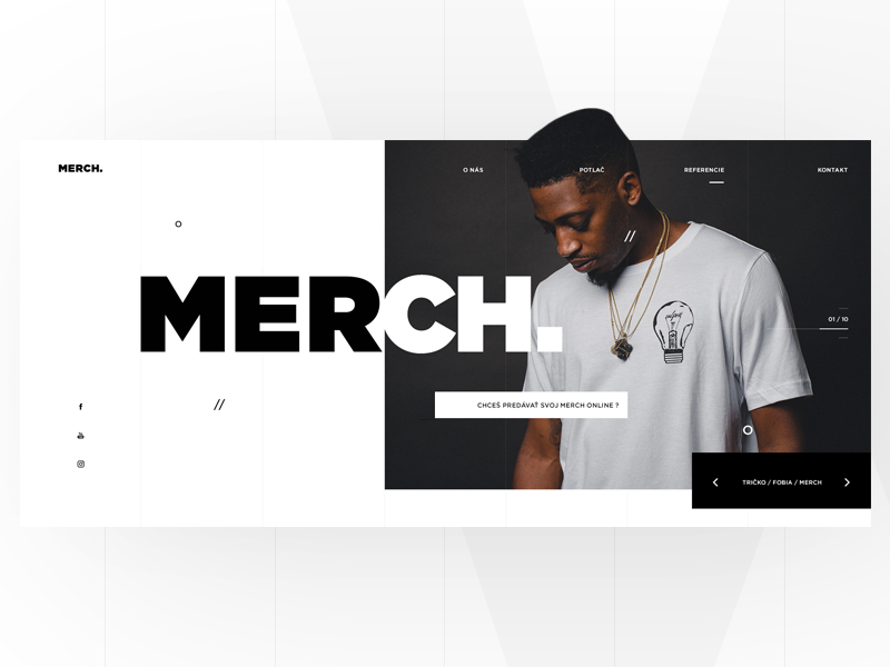 Merch_01 eshop website web page landing interface homepage design clean