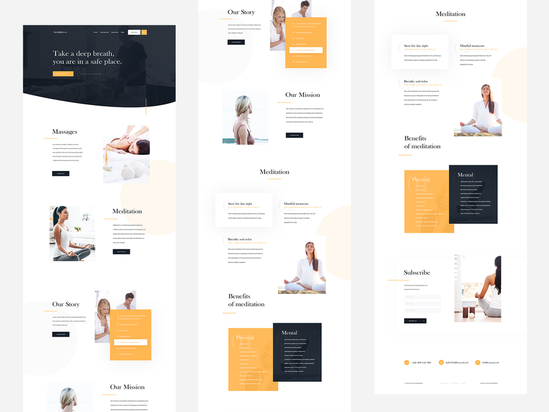 Breathplace.co - Webdesign V2. massage meditation relax ui homepage uidesign interface page landing webdesign web simplicity elements clean website minimalist