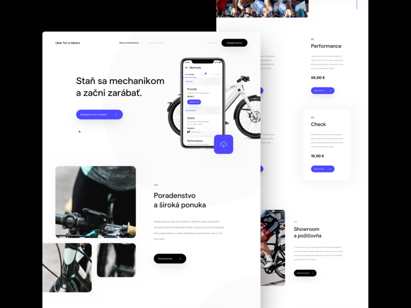 Uber for e-bikers - Concept ebike website webdesign ux uidesign ui landing page homepage design
