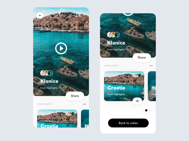 Autostories - Highlights vacation trip travel app ux user interface ui user interface mobile app design mobile app ios clean