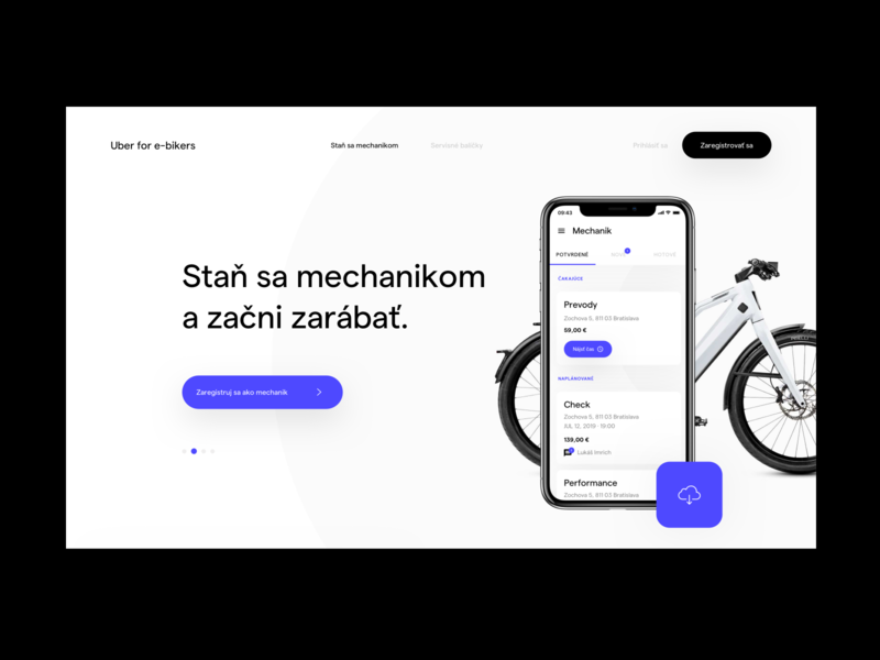 Uber for E-bikers - Shots user experience ux userinterface app design webdesign mobile app ios bicycle app mechanic bicycle uber ebike landing page