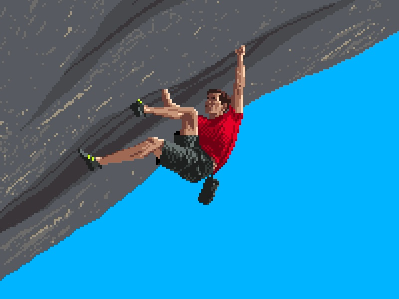 Alex Honnold pixels pixel art pixel 8bit art 8bit photoshop rock climbing sports