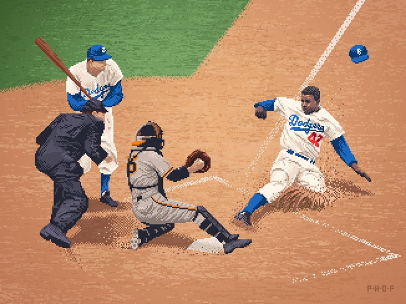 Jackie Robinson pixel art 8-bit art sports baseball photoshop illustration pixels pixel 8-bit