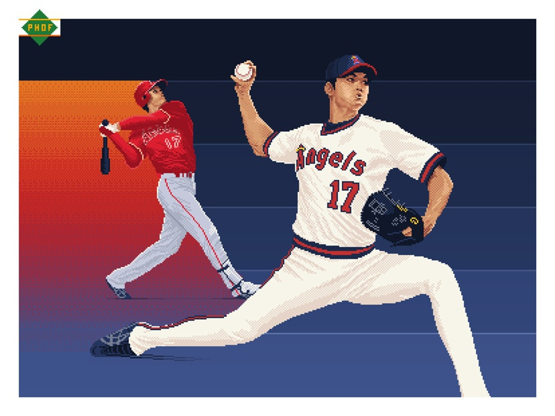 Pixel Shohei Ohtani 8-bit pixel pixels illustration photoshop baseball sports 8-bit art pixel art