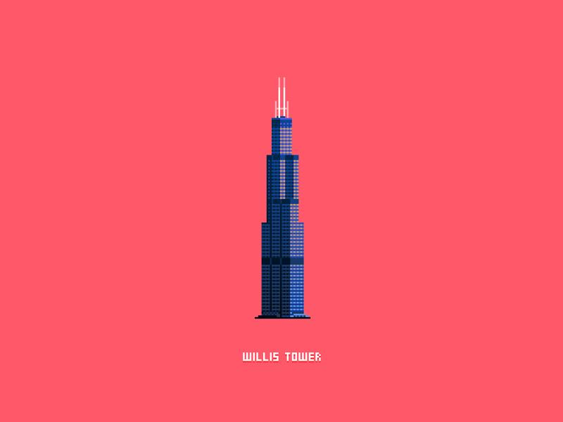 Willis Tower chicago pixel art 8-bit art photoshop illustration pixels pixel 8-bit