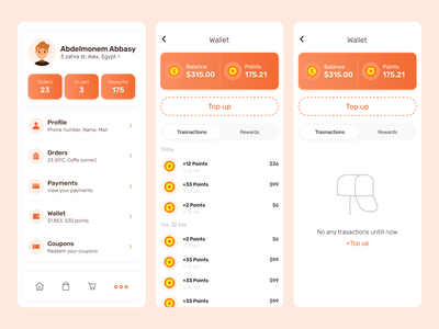 Food Delivery App - More menu & Wallet screens empty emptystate edge app redeem coupon payment profile home exchange reward transactions topup wishlist orders balance ui delivery app