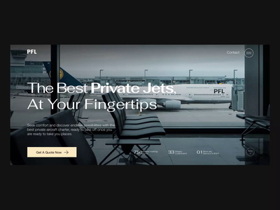 Dynamic Landing page - Private Jets company - PFL animation home fleet values testimonials creative design product design ux jetpack homepage ui dynamic private jet landing