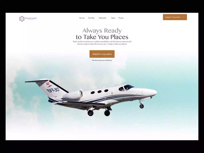Landing page - Private Jets company - PFS redesign home company private jet animation landingpage design app ux product design ui