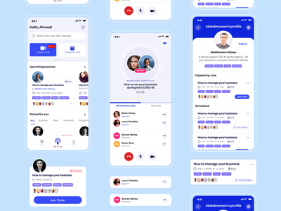Video conference & voice online sessions app 🪐 design ui ux conference event home app schedule live voice profile meetup meeting online video