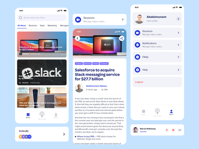 News & Article & Profile 🚀 home redesign product design ux app ui design meetings video settings profile news article