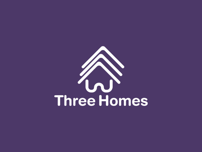 Three Homes Logo identity icon three home branding design logo