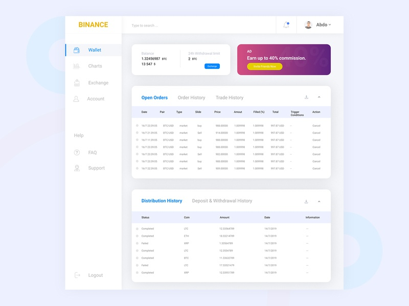 Binance - Cryptocurrency Wallet UI balance figma design dashboad binance coin redesign product design ux  ui website webdesign cryptocurrency wallet