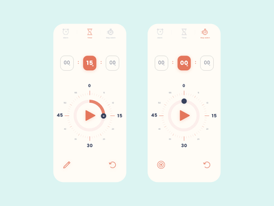 Timer ⌛ and Stopwatch ⏰ App icon seconds time alarm app ux ui simple stopwatch timer
