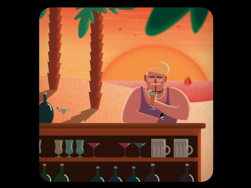 Holiday Cocktails cocktails holiday beach drawing design colourful cartoon illustration after effects 2d
