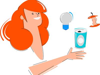 Lady test items lady illustration 2d design sketch
