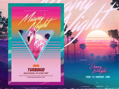 Miami Night 80's Synthwave Flyer Template templates retro rad flamingos vhs miami vice flyer dreamwave retrowave synthwave 90s 80s