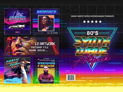 80s Synthwave Square Artpack Template
