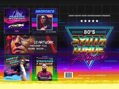 80s Synthwave Square Artpack Template template retro rad neonoir glitch vhs flyer synthpop retrowave synthwave 90s 80s
