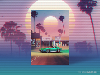 Synthwave : Sunset Drive synthpop rad vaporwave aesthetic eighties 1980s 80s outrun retrowave synthwave
