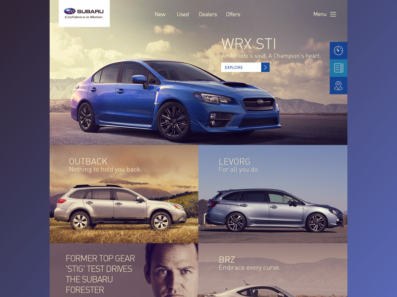 Subaru overview flat ui grid clean web design icons responsive layout landing page