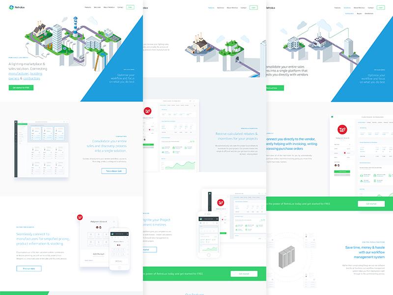 Retrolux Marketing Website website ux ui startup landing page homepage fintech brand