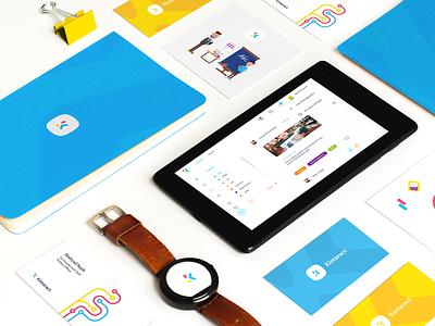 Kinteract Brand Materials illustration digital business cards branding startup fintech kinteract