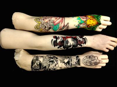 Tattooed Prosthetics life-like color amputees silicone photography illustration tattoo prosthetics