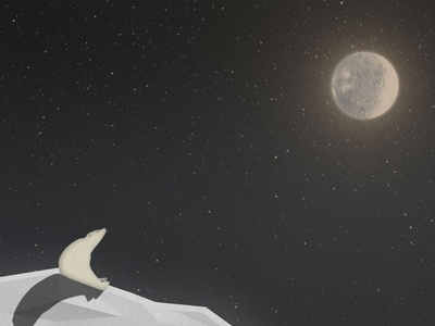 watching the stars night snow ice stars moon polar arctic bear vector motion design animation 2d